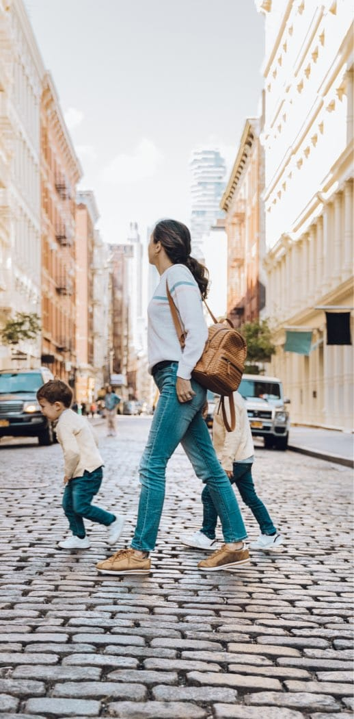 Mother and Children Walking
